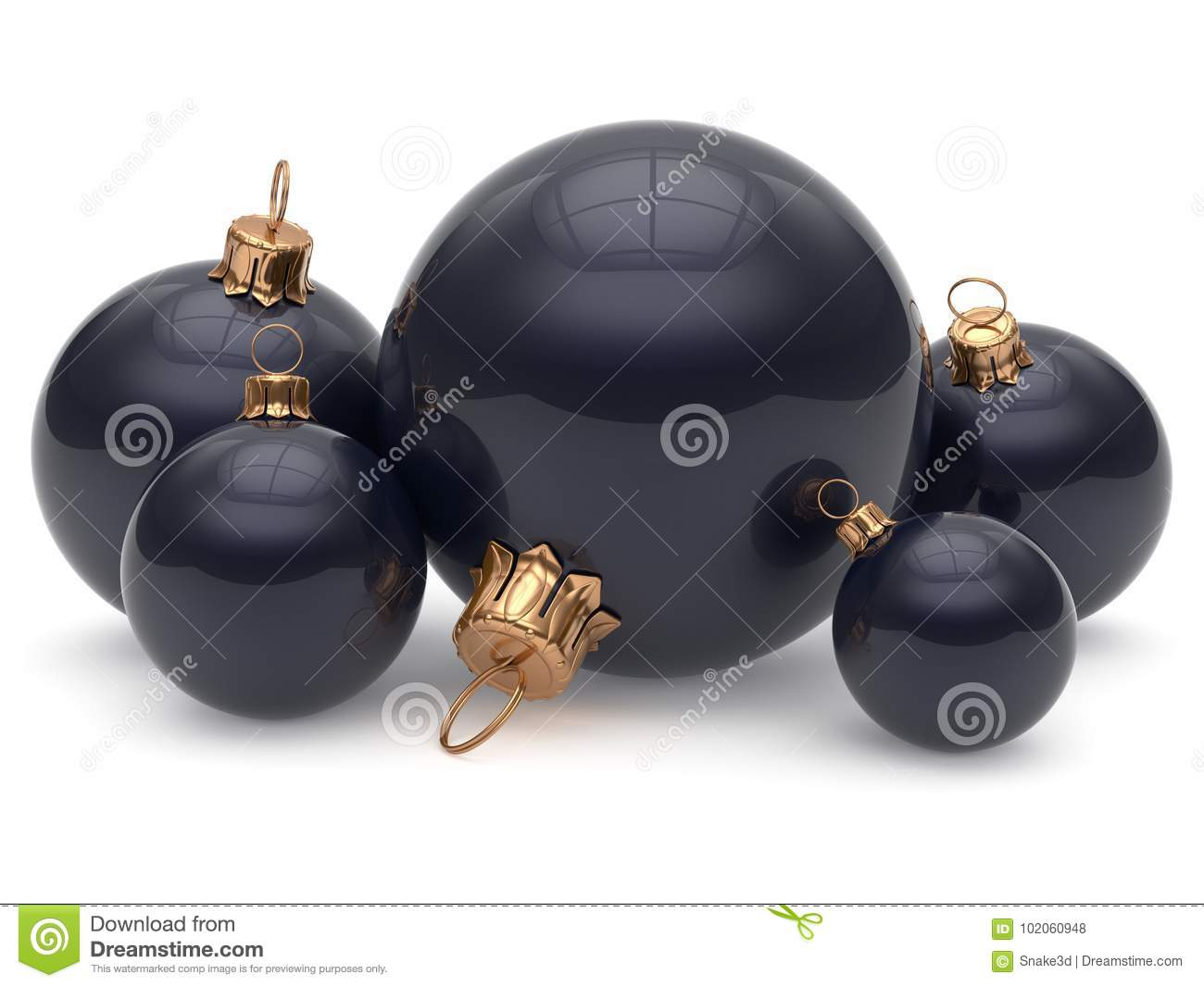 Christmas Ball Adornment Decoration Glossy Black New Years ...