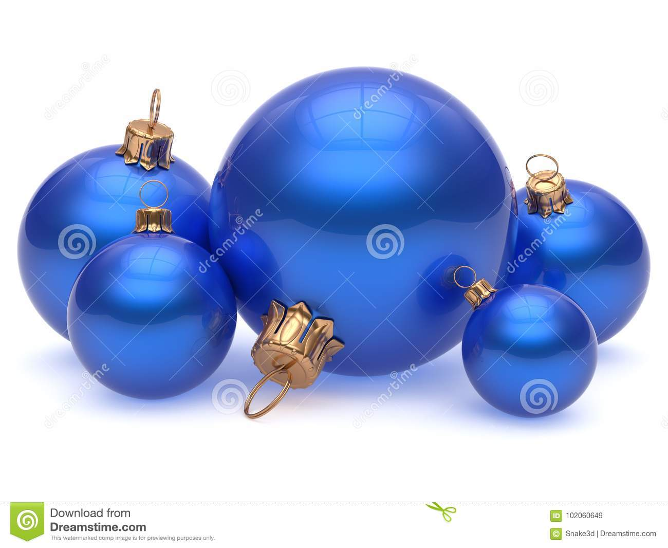Christmas Ball Adornment Decoration Glossy Blue New Years ...