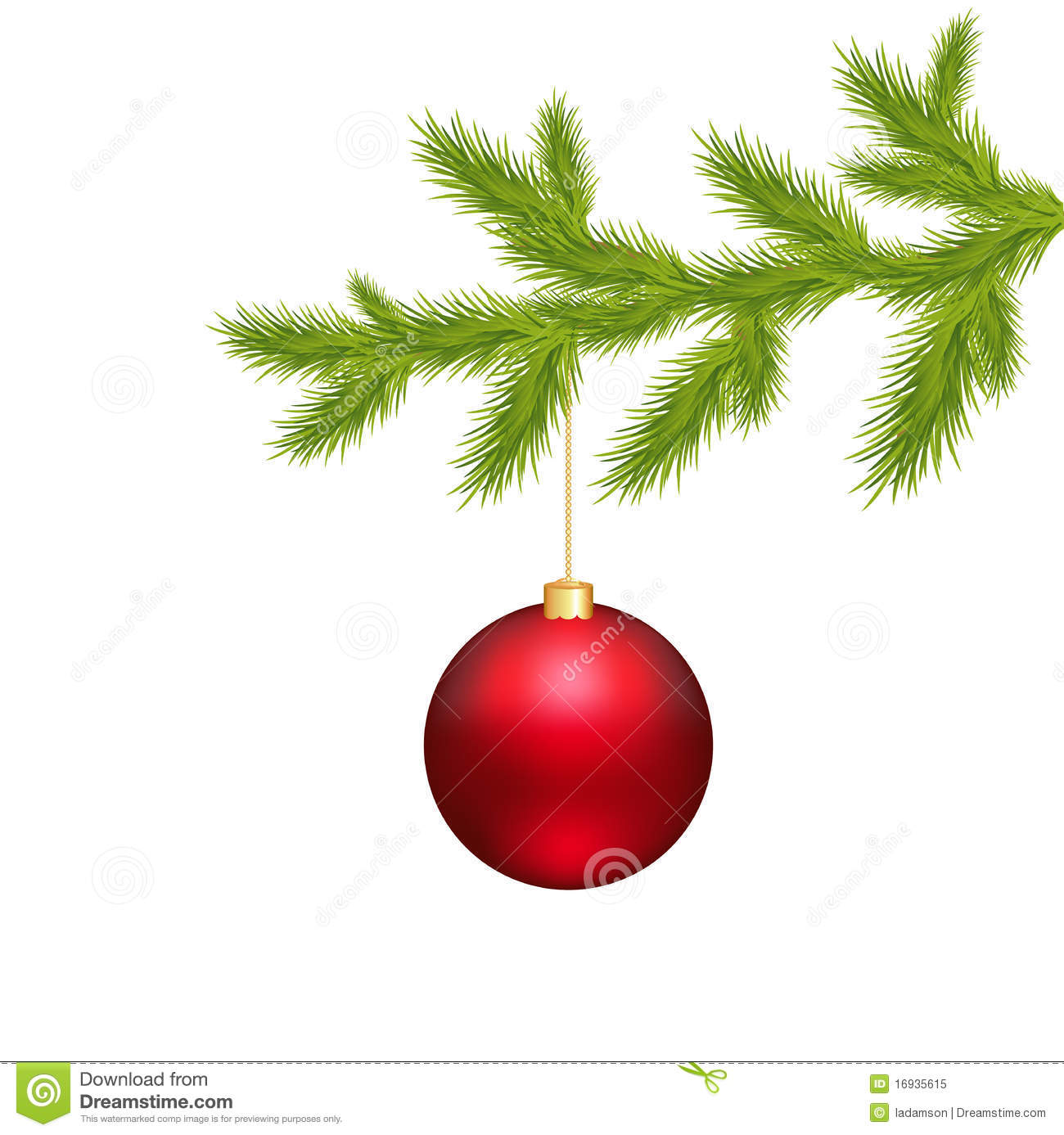 Christmas ball and branch tree vector stock