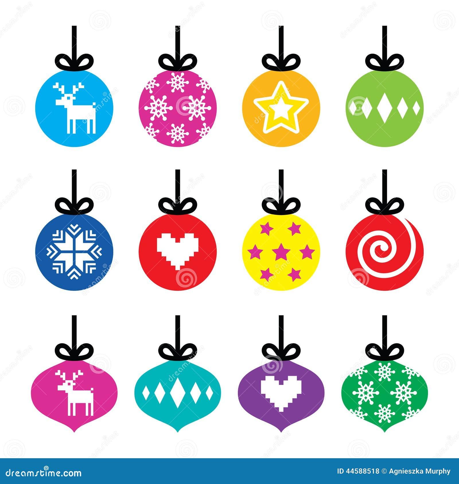 Christmas Ball, Christmas Bauble Colorful Icons Set Stock ...