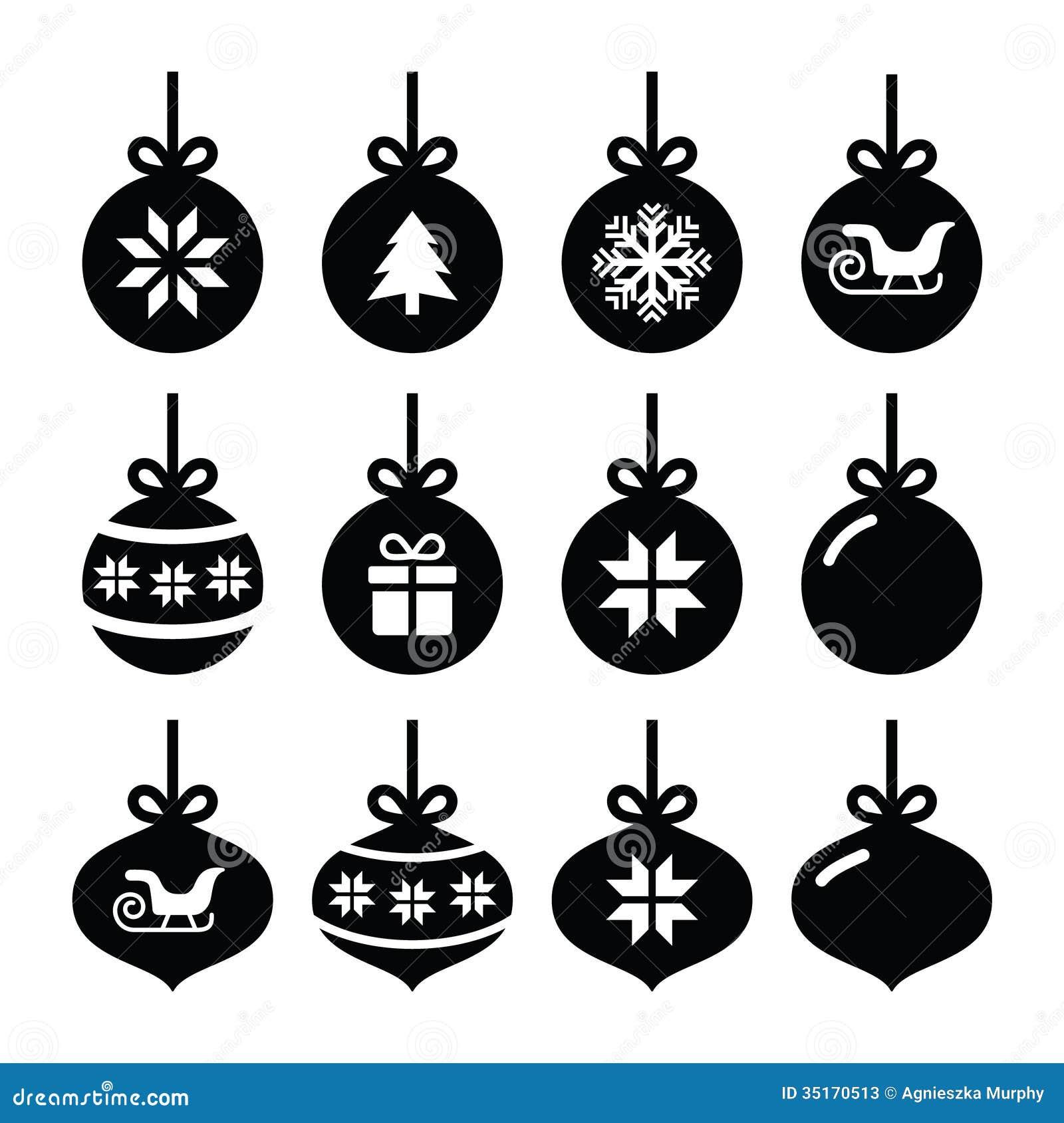 Christmas Ball, Christmas Bauble Icons Set Stock Photos - Image ...