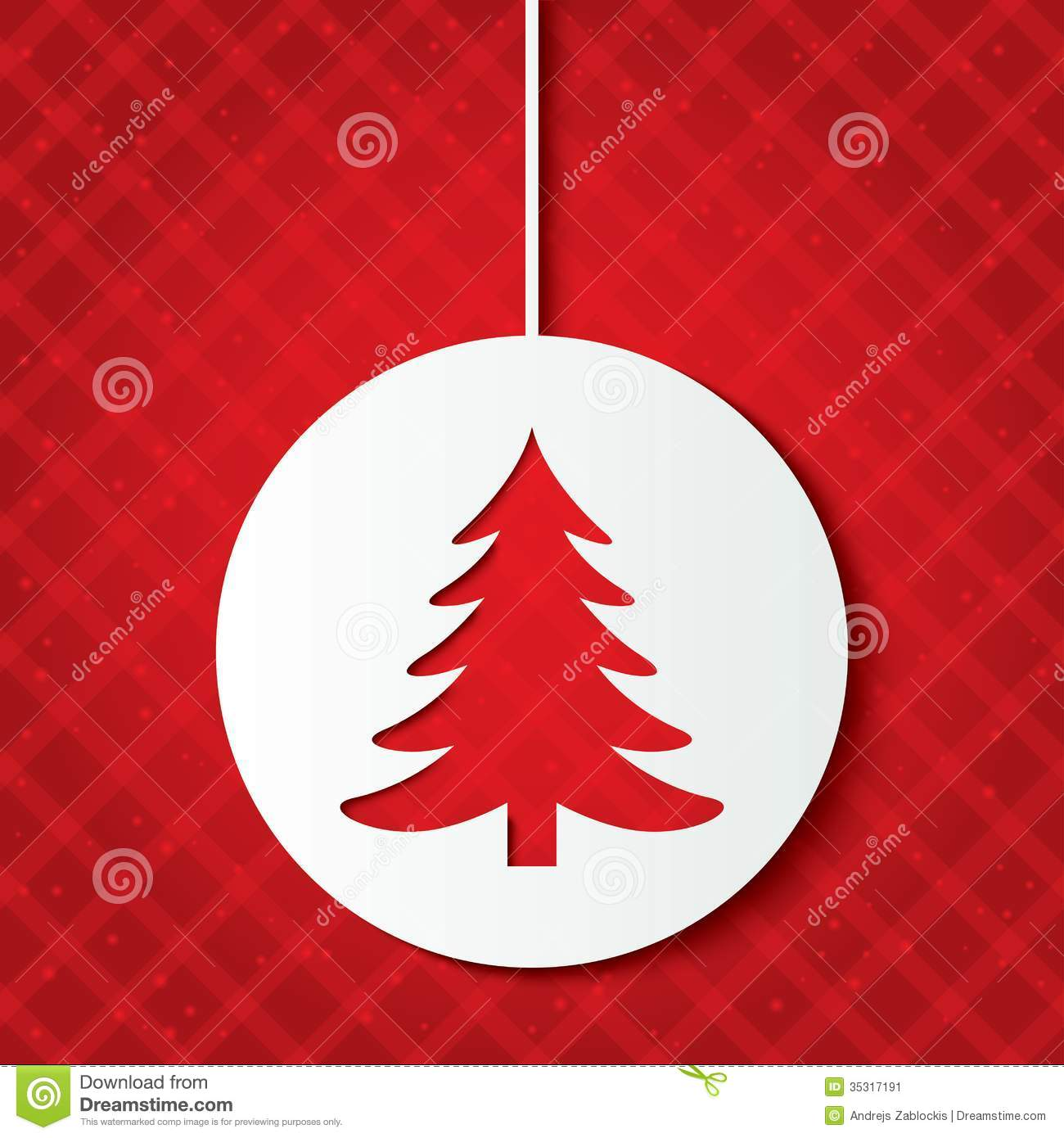 Christmas Ball With Christmas Tree. Cut The Paper. Stock Image - Image ...