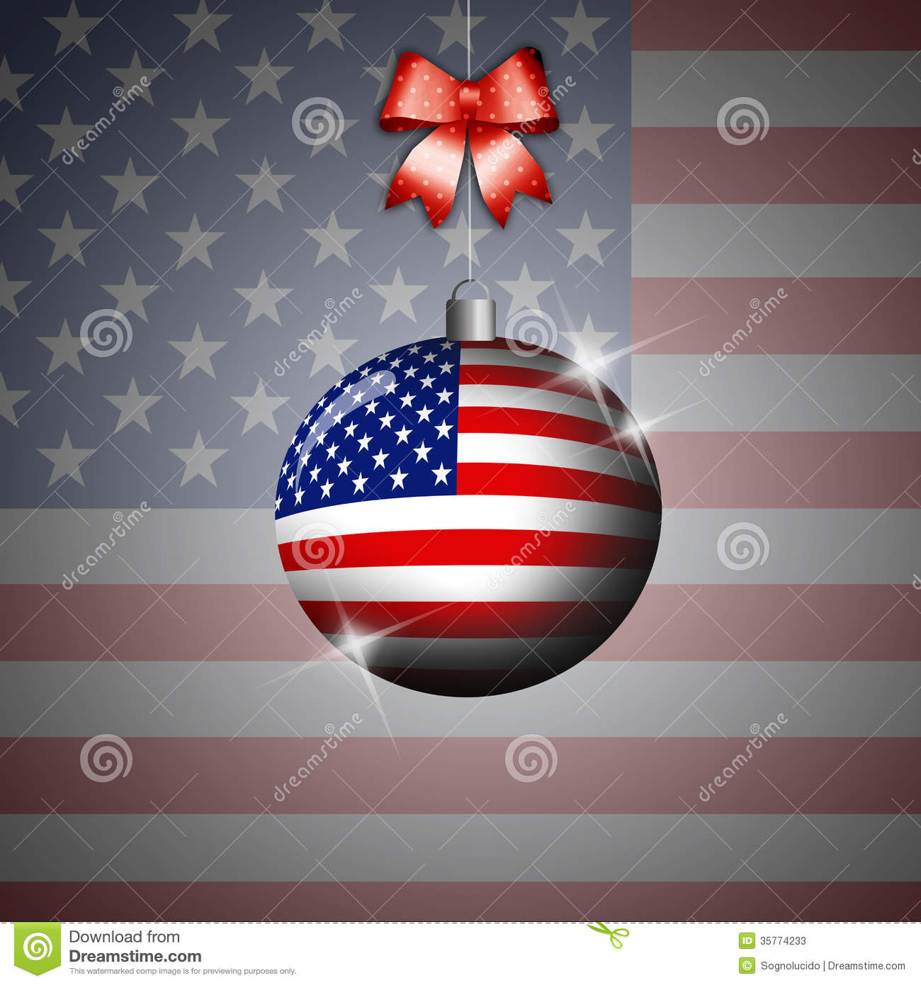 Christmas Ball With Flag Of USA Stock Photos - Image: 35774233