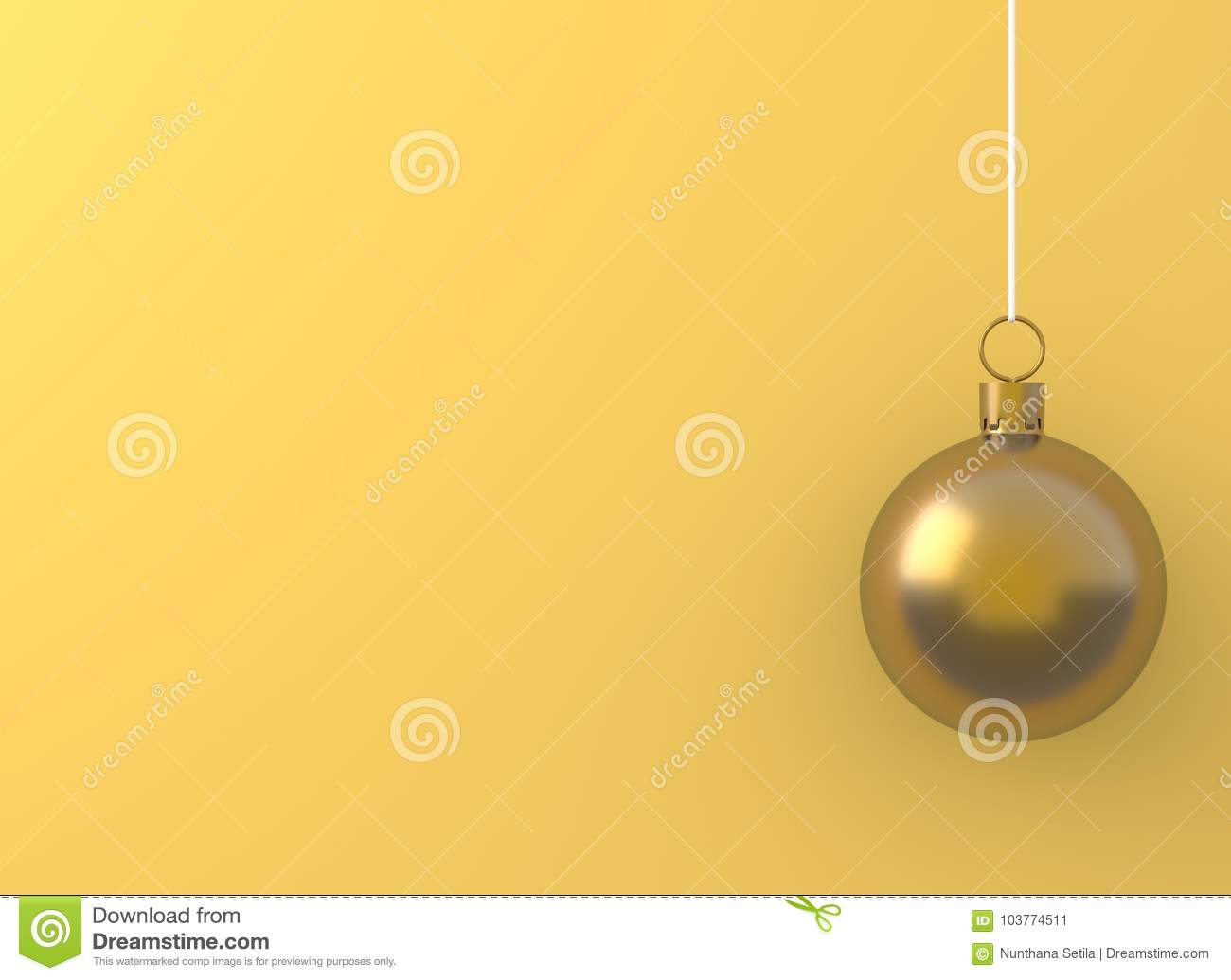 christmas ball gold ornament hanging on yellow background holiday concept new year minimal