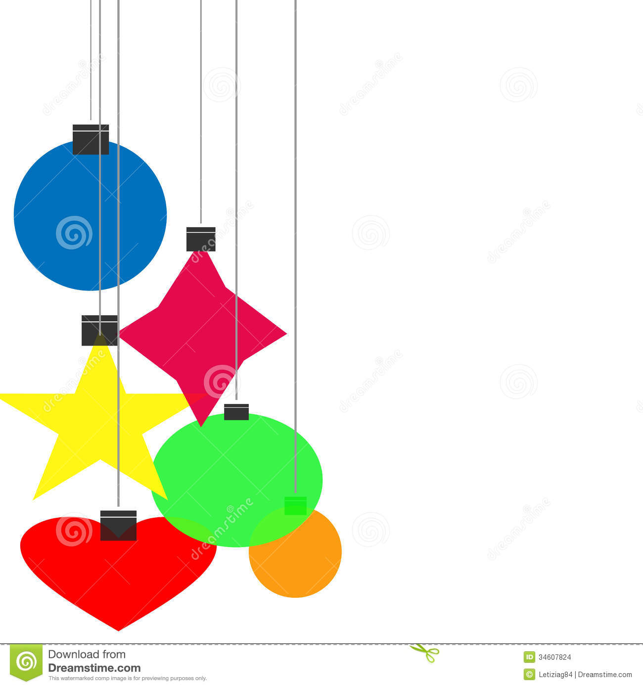Graphic design - Christmas balls of different shapes.