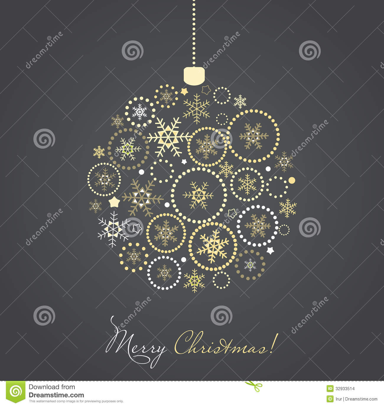 Christmas ball made from gold and silver snowflake stock