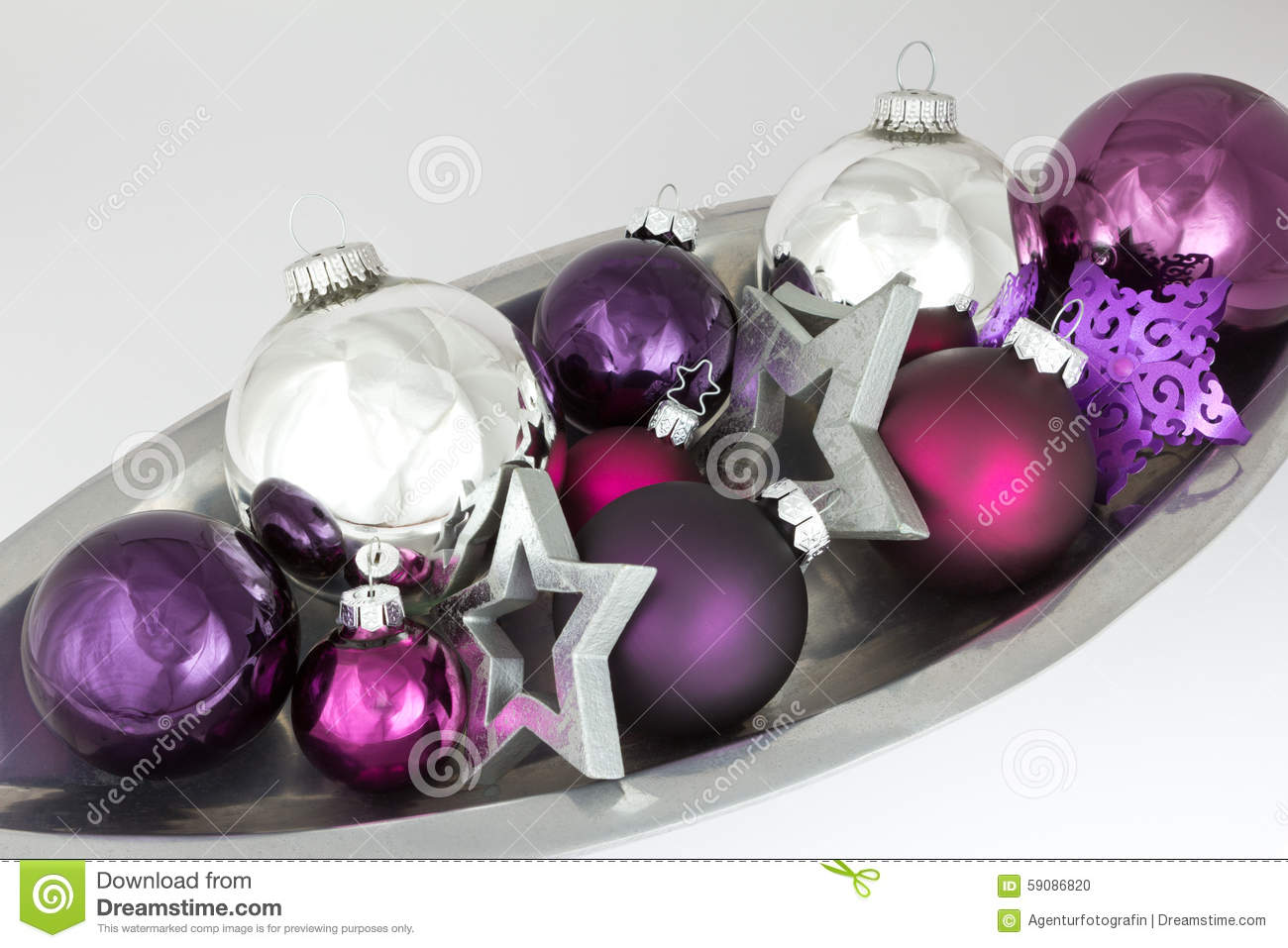 Silver And Purple Christmas Ornaments On Bright Holiday Background ...