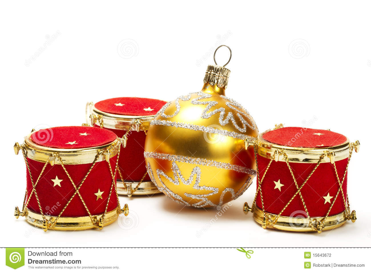 Christmas Ball And Red Drum Ornaments Stock Photography - Image ...
