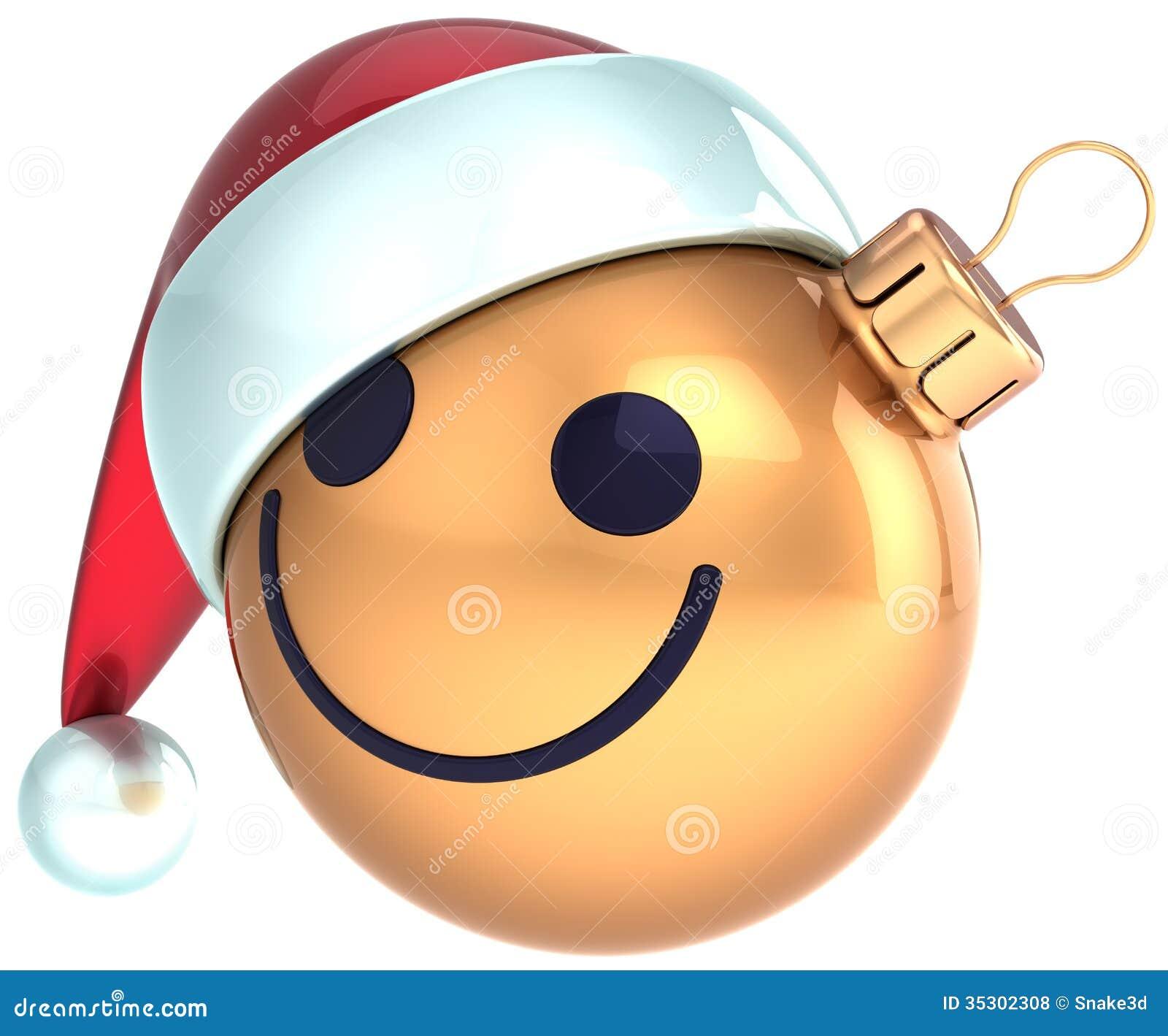 christmas ball smiley face gold happy new year santa - Christmas Smiley Faces