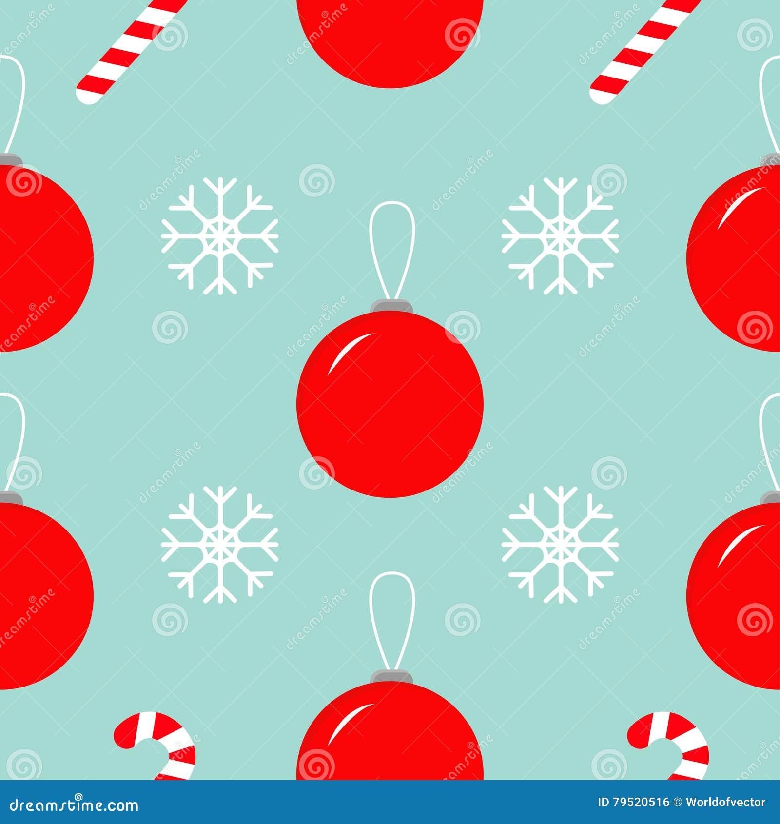 christmas ball snowflake candy cane seamless pattern decoration