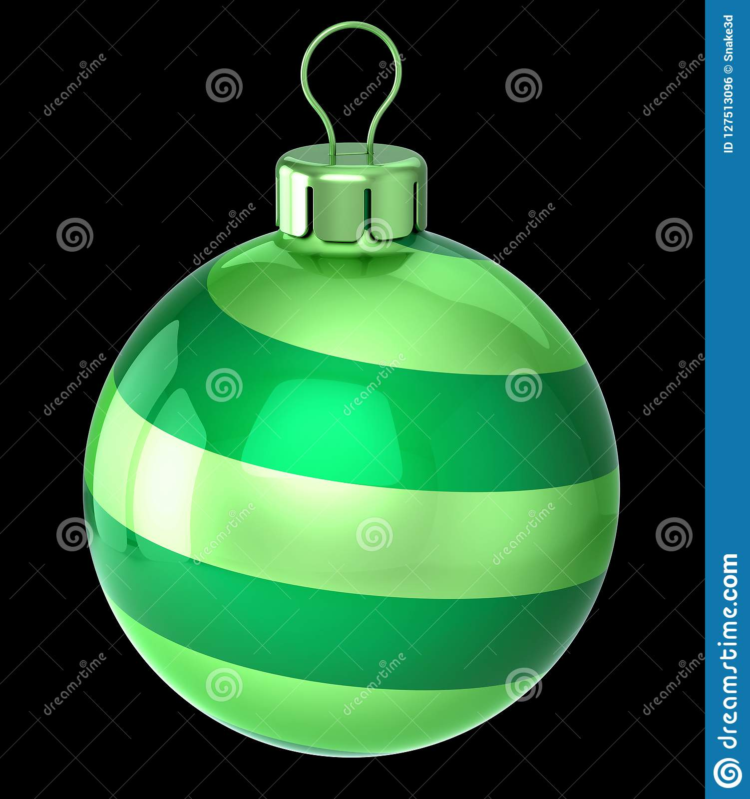 Christmas Ball Striped Green. New Year`s Eve Decoration ...