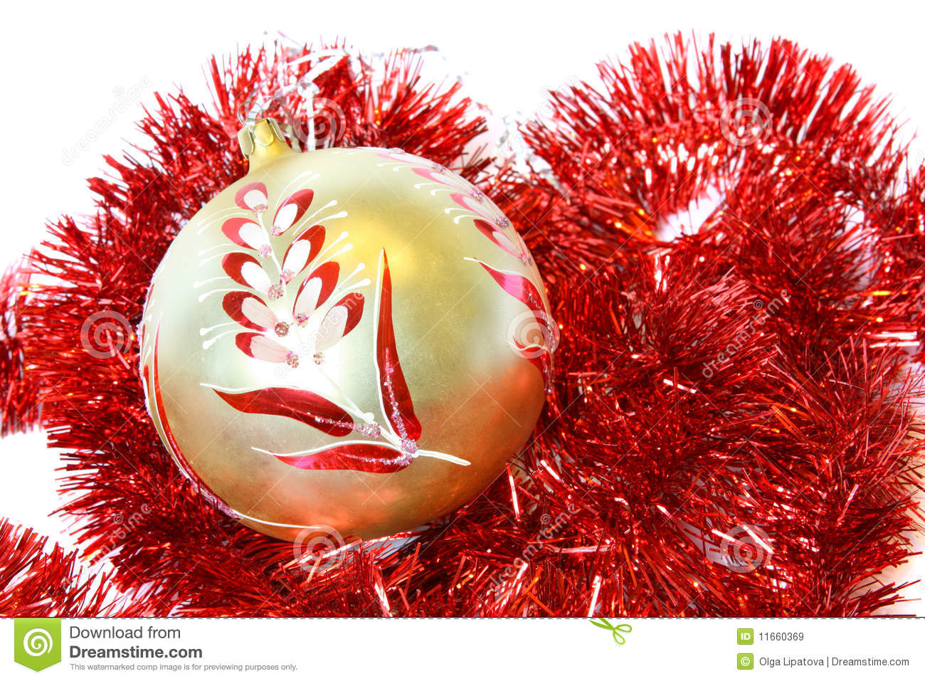 Christmas ball and a tinsel royalty free stock images