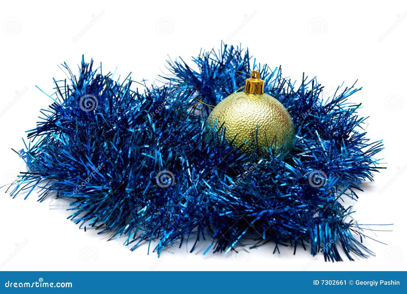 Christmas ball and tinsel stock image