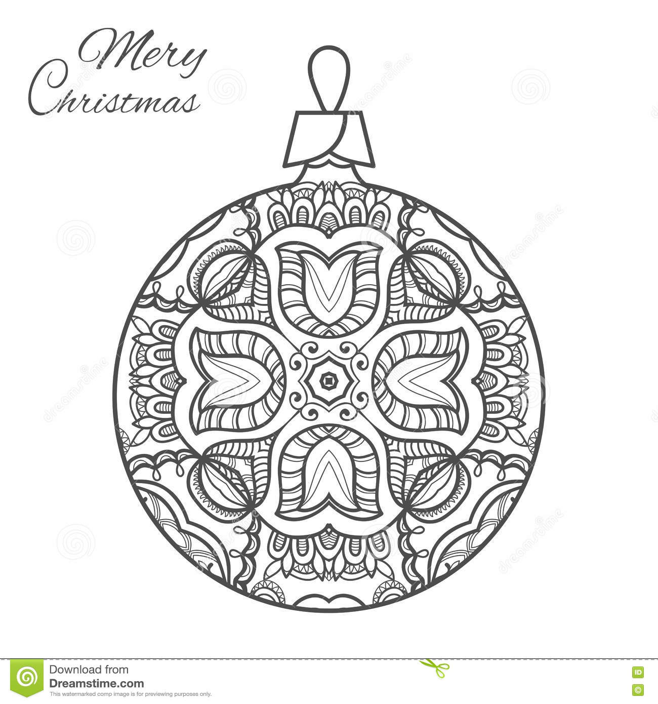 Christmas Ball Zen-doodle Art For Adult Coloring Book Page Stock ...