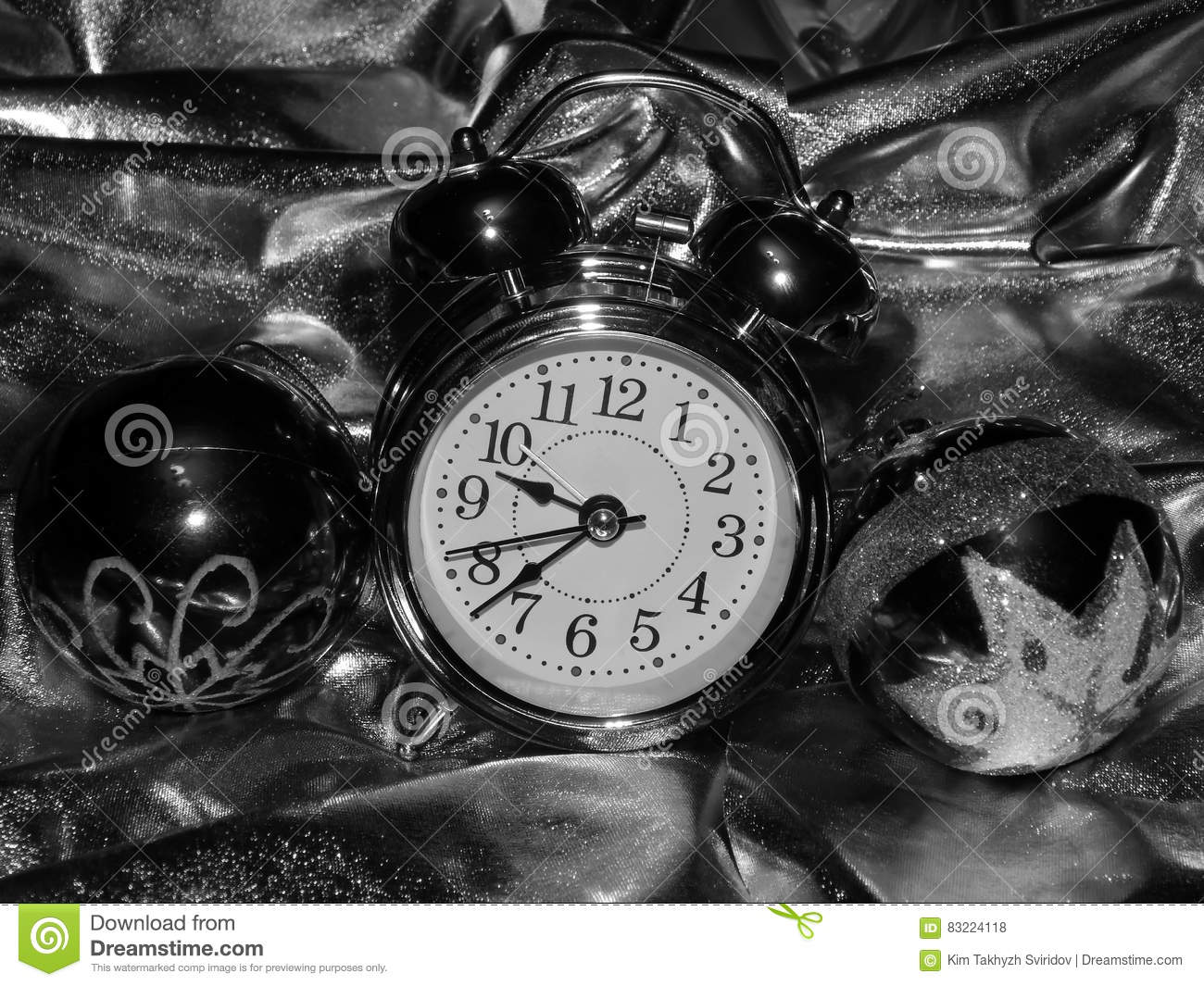 Christmas Balls With An Alarm Clock On A Black And White ...