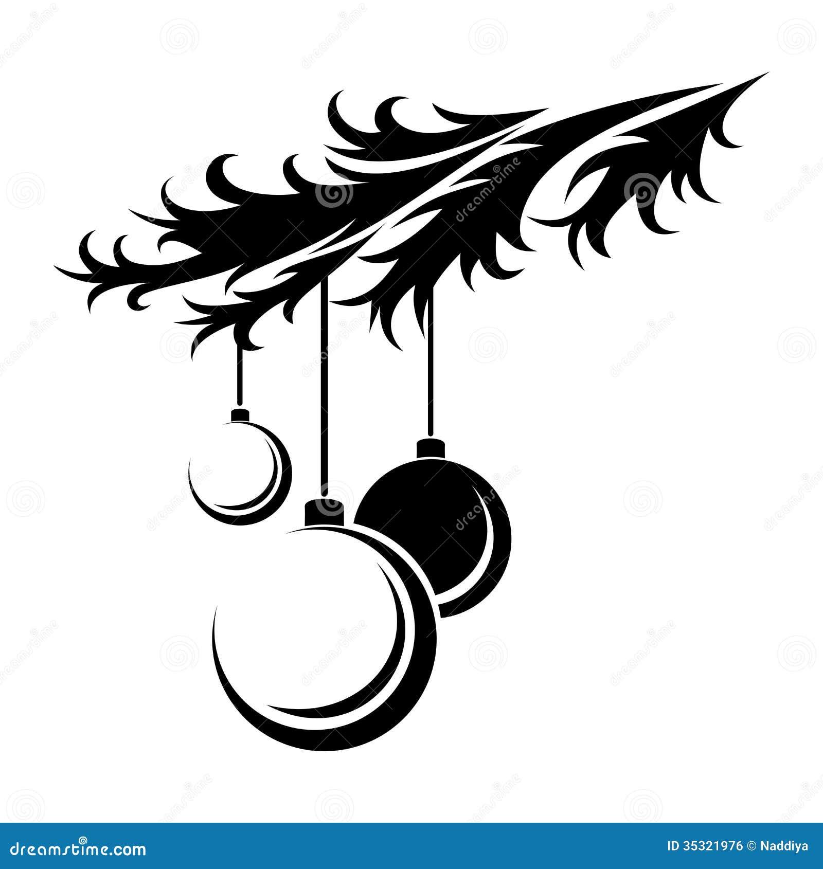 Christmas Balls. Black Silhouette. Royalty Free Stock Image - Image ...