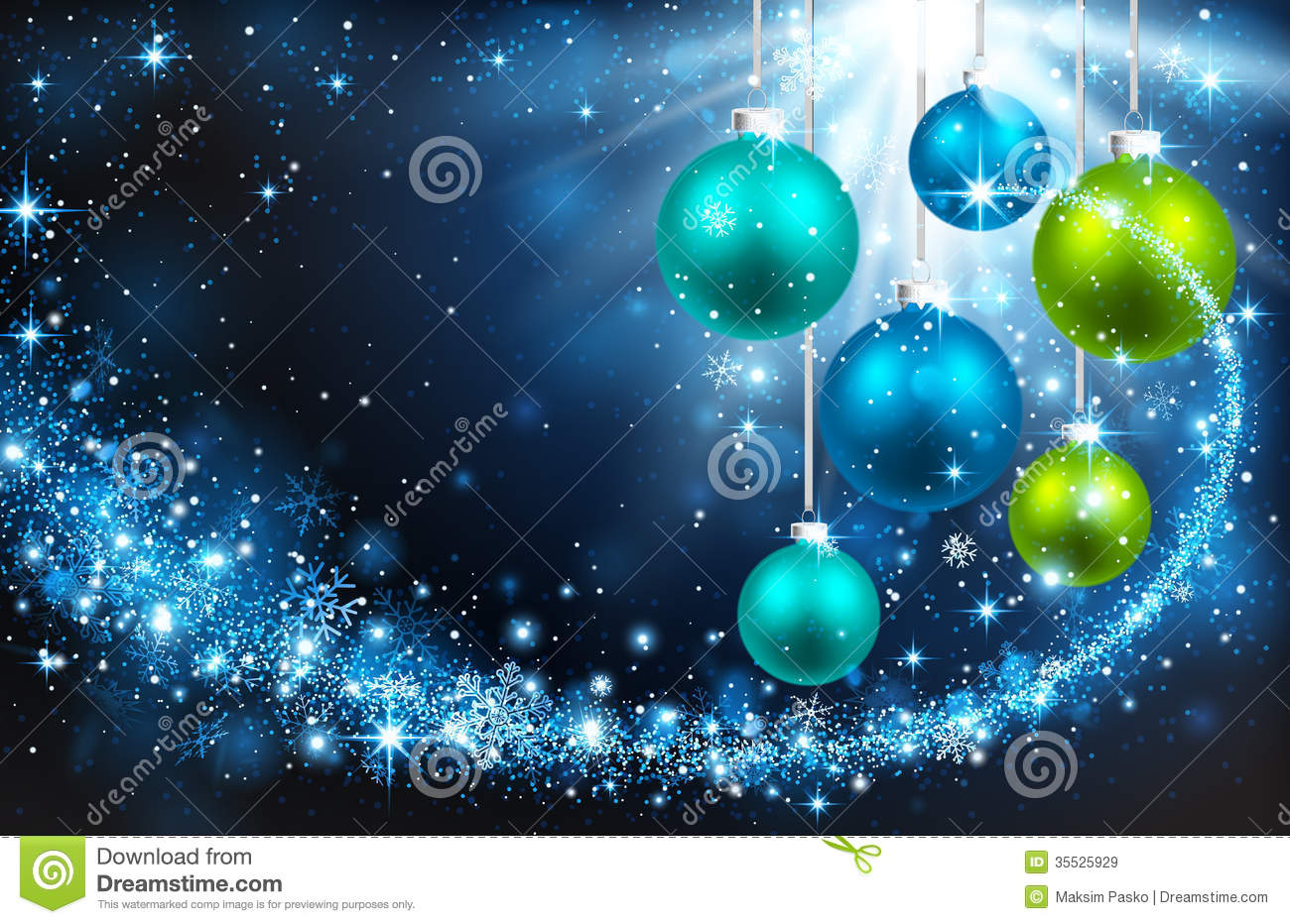 Christmas Balls On A Blue Background Royalty Free Stock
