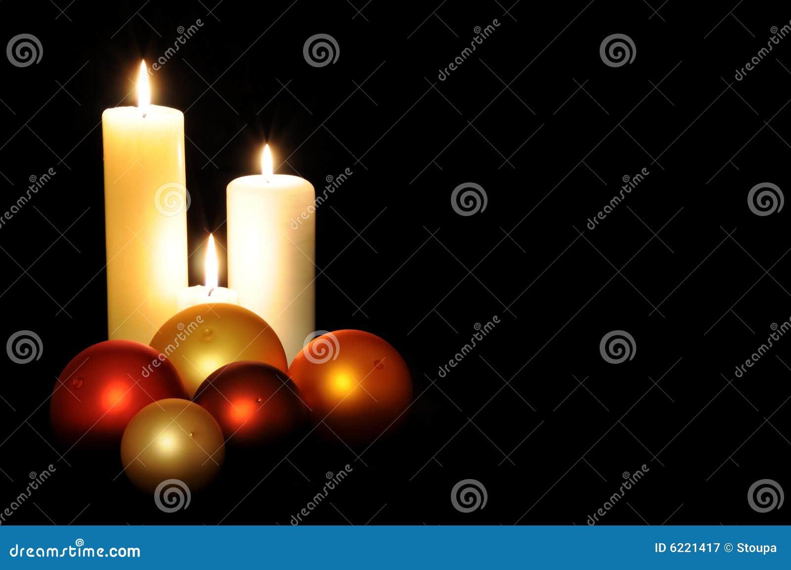 Christmas balls and candles