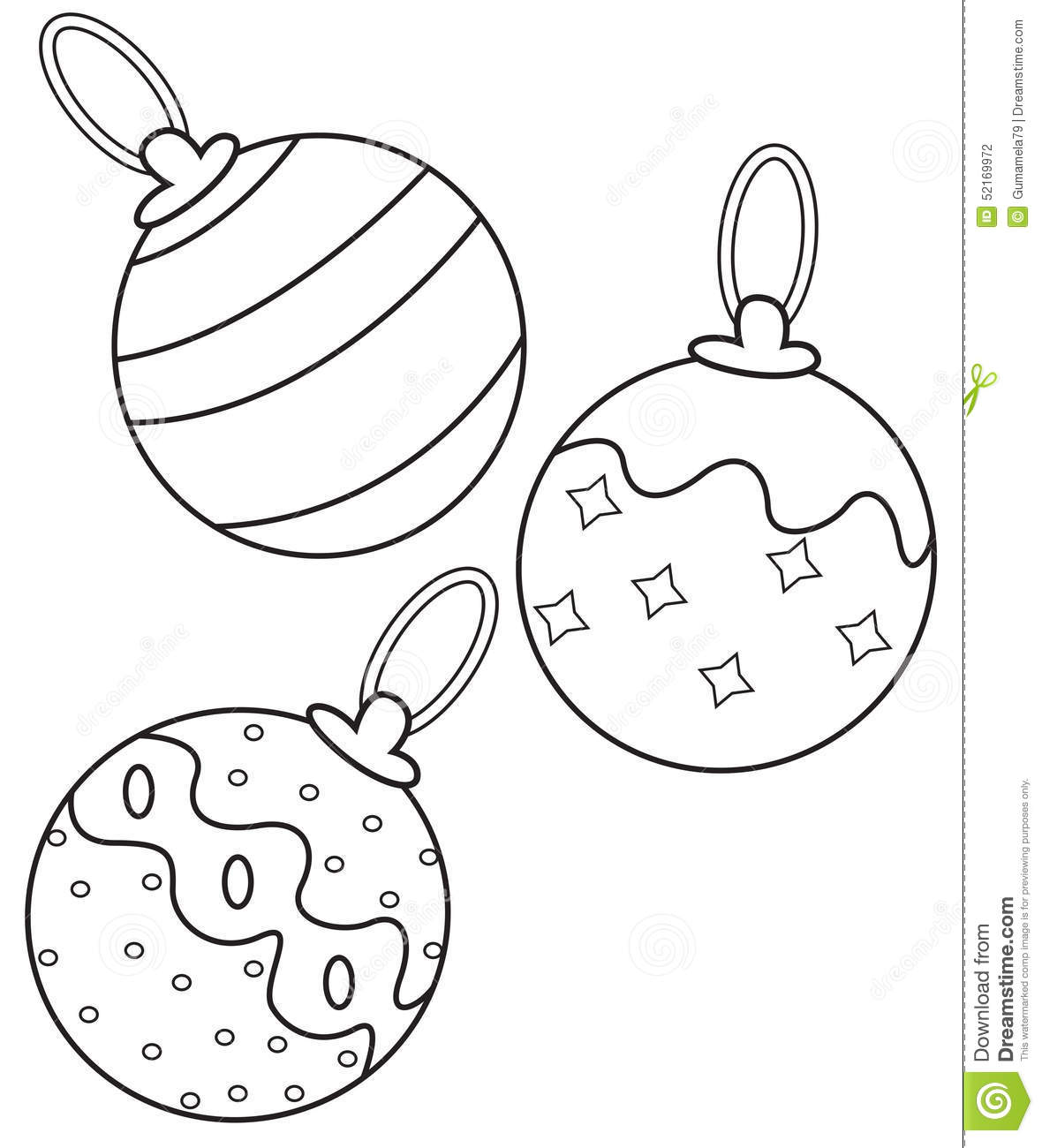 christmas balls coloring page stock illustration image 52169972