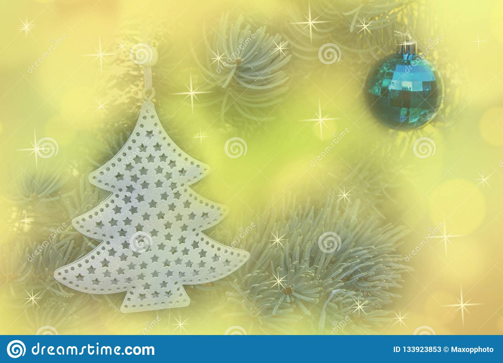 Christmas balls decoration on abstract bokeh background.
