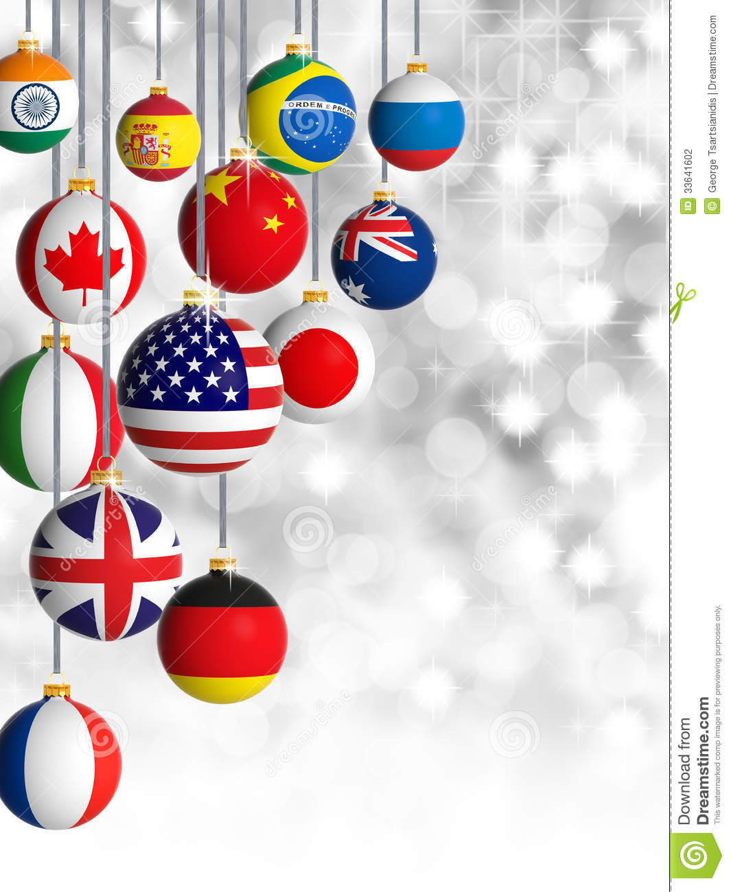 Christmas Balls With Different Flags Hanging Stock