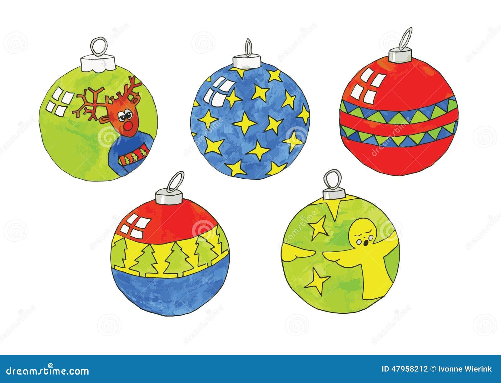Colorful Christmas Ornaments Drawings.Christmas Balls Stock Vector Illustration Of Reindeer
