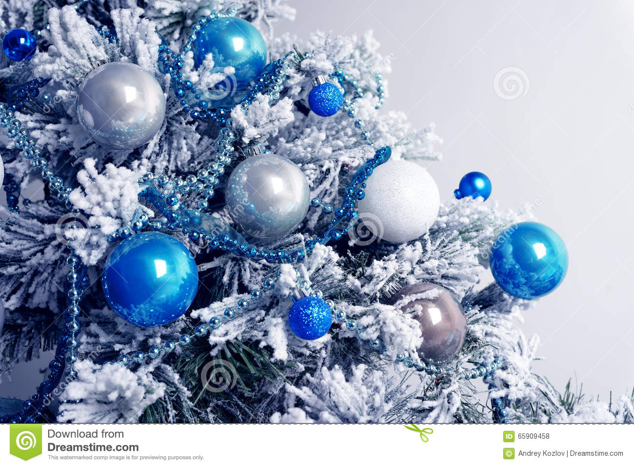 christmas balls on fir tree blue and white new year. Black Bedroom Furniture Sets. Home Design Ideas