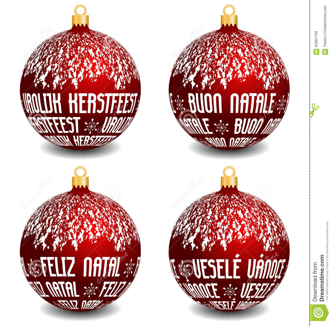 Christmas Balls With Four Languages NL, I, P, CZ Stock Vector ...