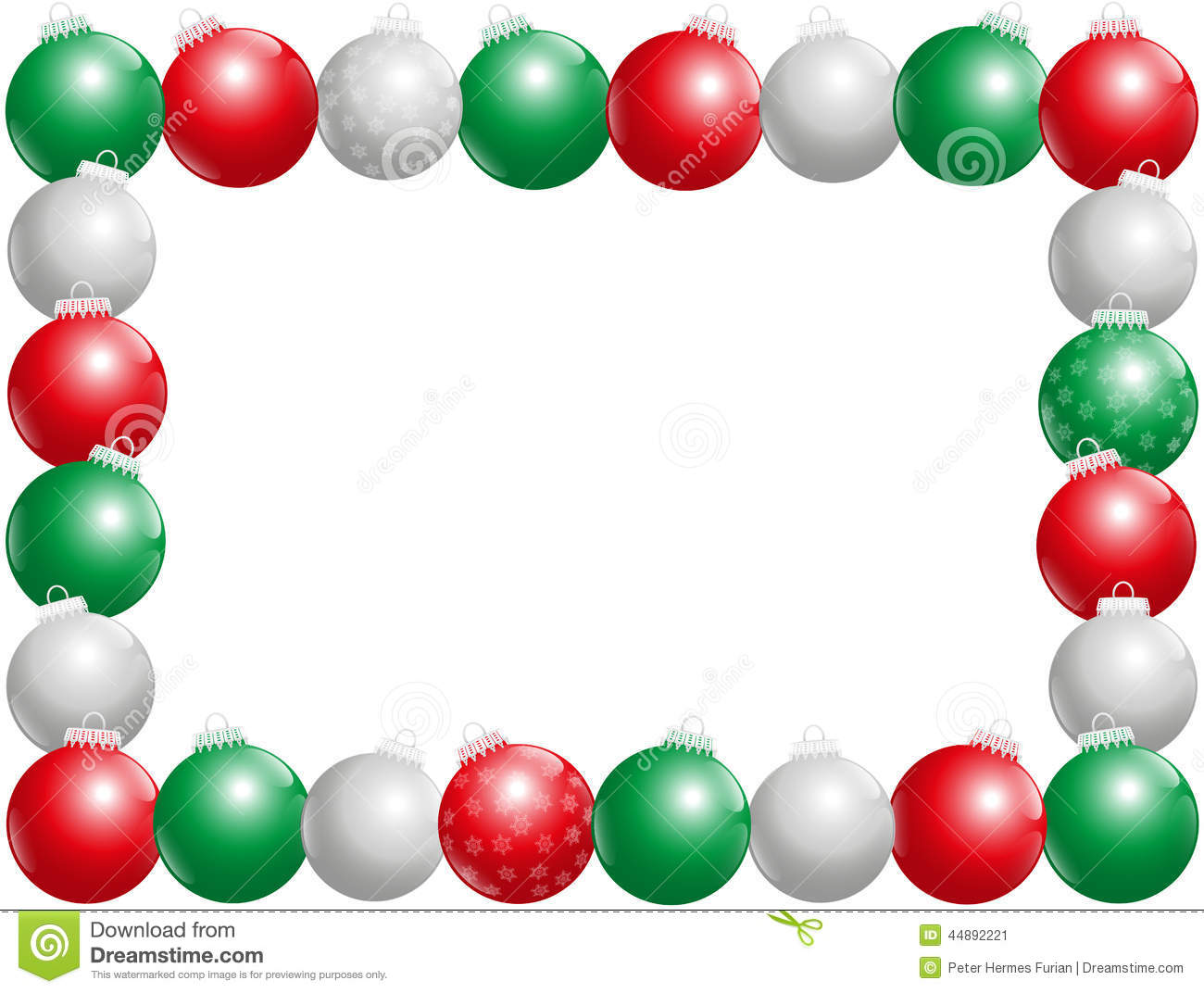 Christmas balls frame horizontal stock illustration