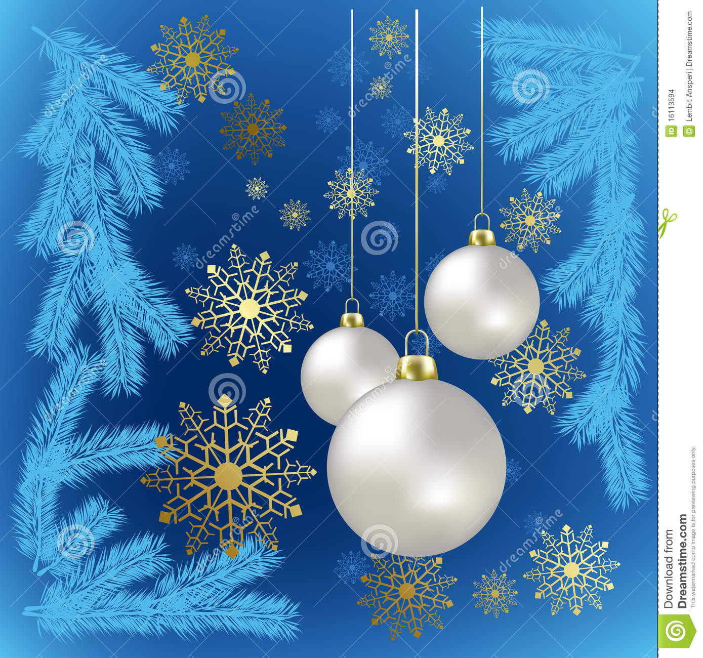 Christmas balls and gold snowflakes on a blue stock images for Blue and gold christmas