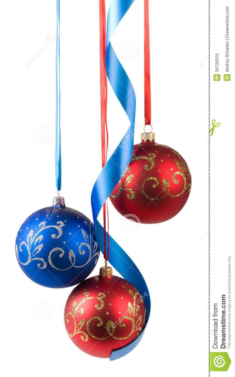 Christmas Balls Hanging On Ribbons Stock Photo - Image: 34726510