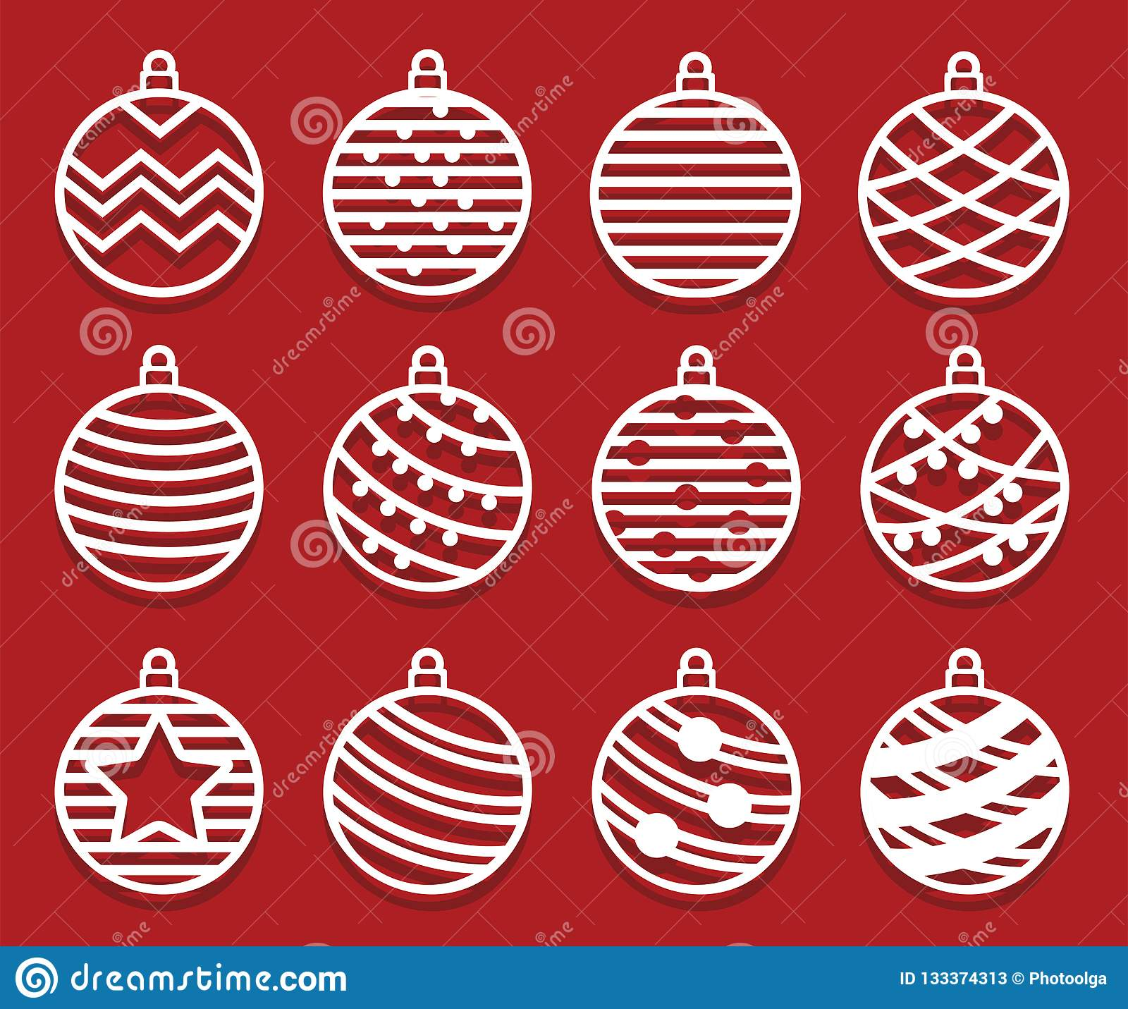 christmas balls for laser cutting new year card simple abstact shapes set of