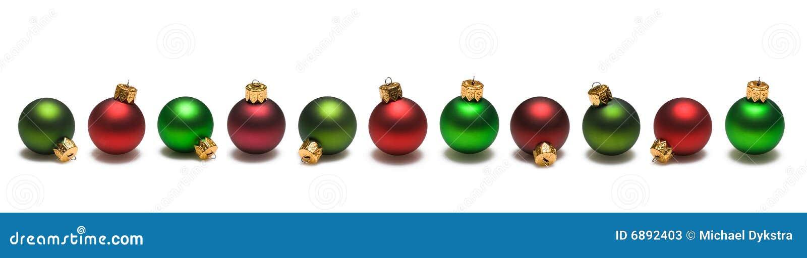 Christmas balls red green border stock image