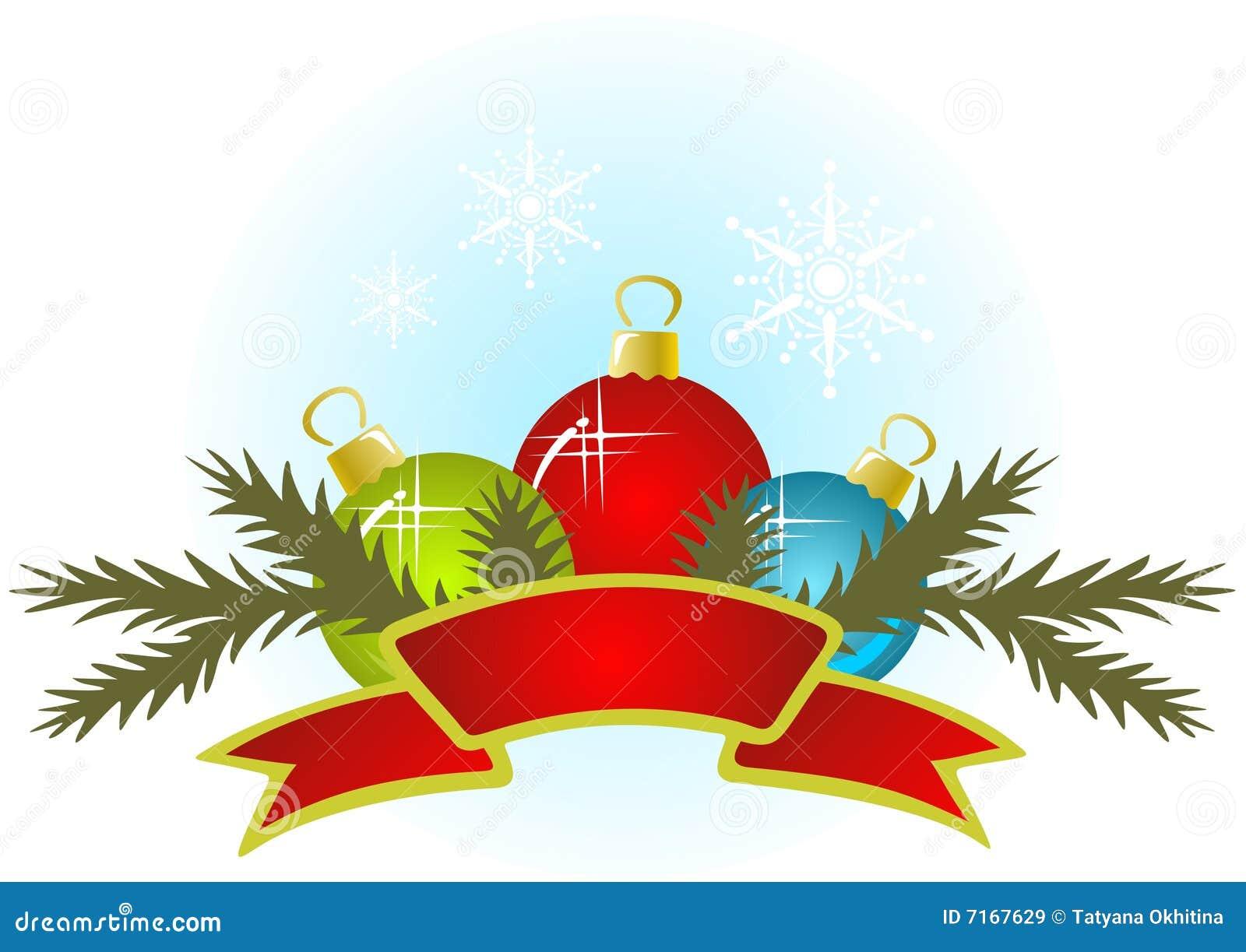 Christmas balls and ribbon stock vector illustration of