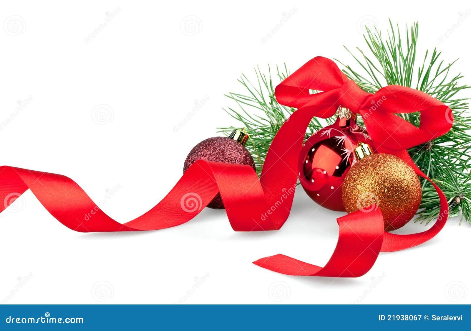 Christmas balls with ribbon and tree stock image