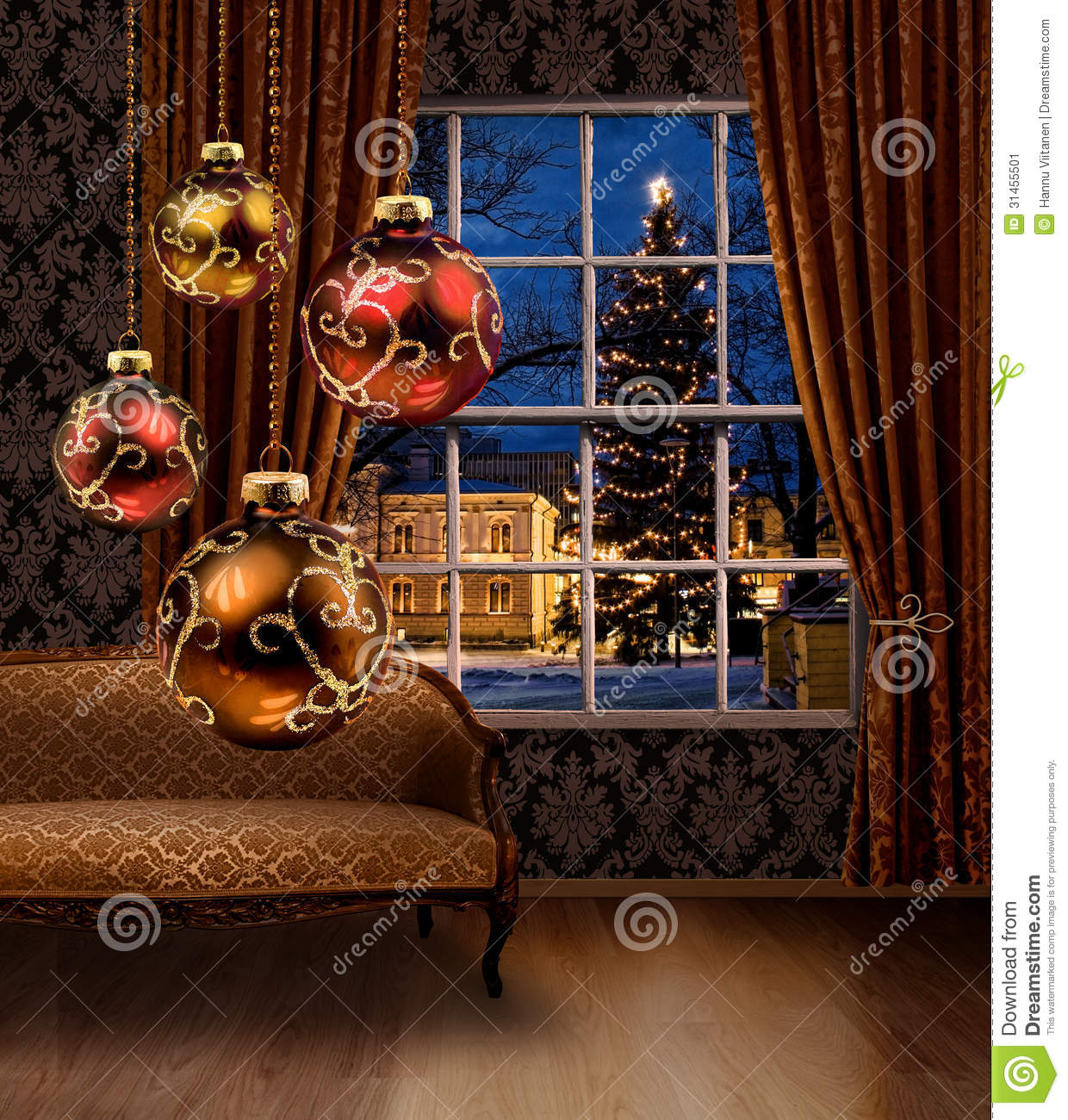 Christmas balls in room town view window stock image