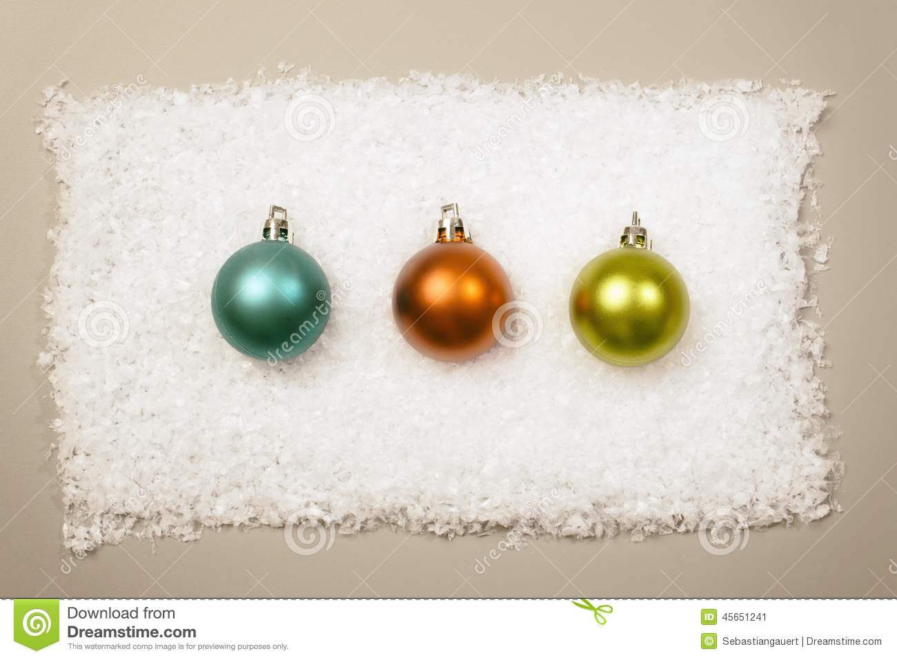 3 Christmas Balls In Row On Snow Background Stock Image - Image of ...