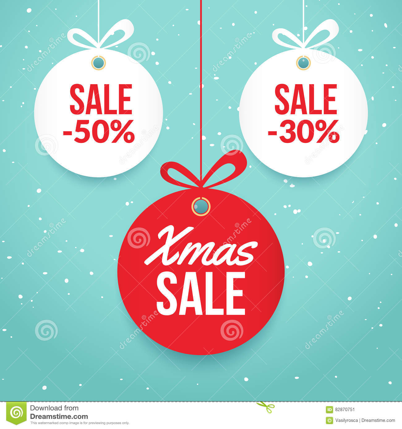Christmas Balls Sale Special Offer Vector Tag New Year Holiday – Holiday Card Template