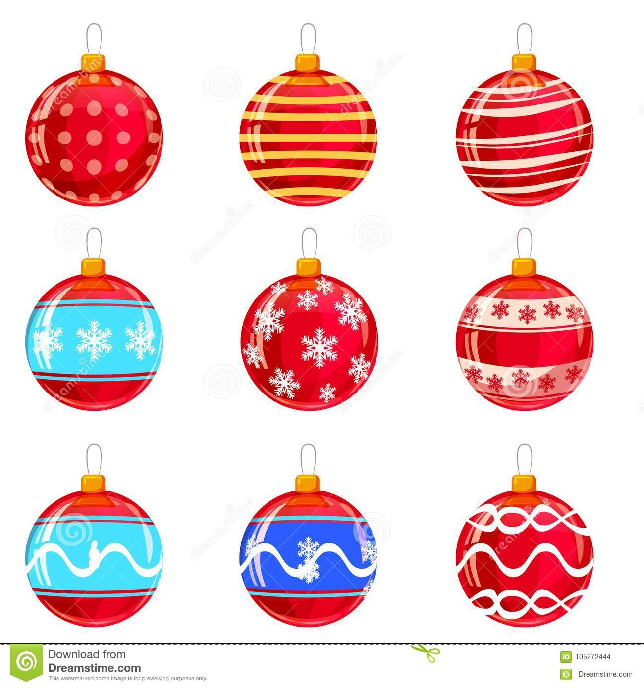 Christmas Balls Set Of Isolated Cartoon Decorations Vector