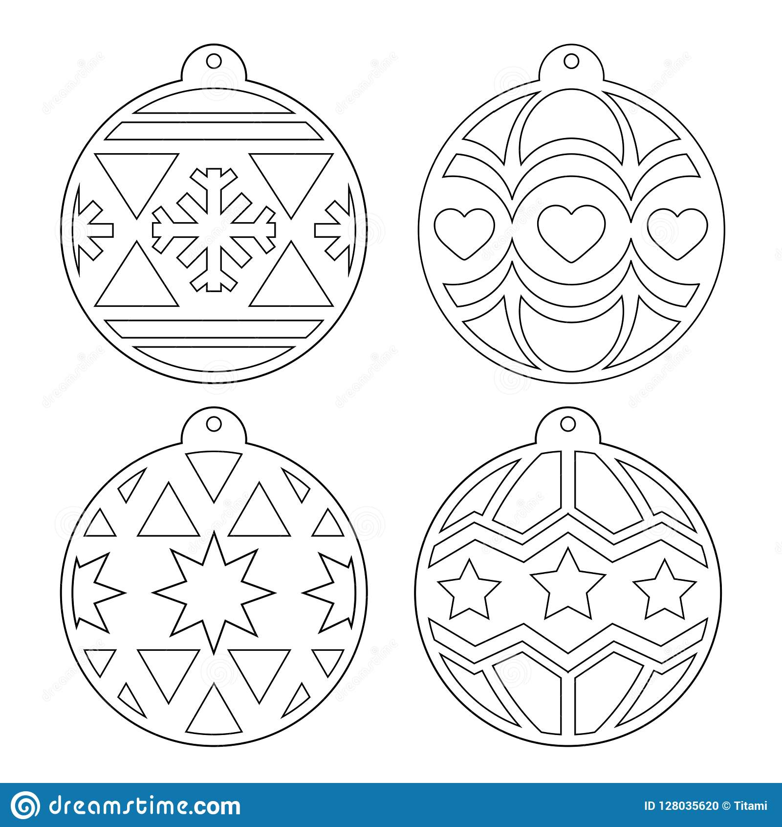 Christmas Balls. Stencil. Vector Outline Image On A White ...