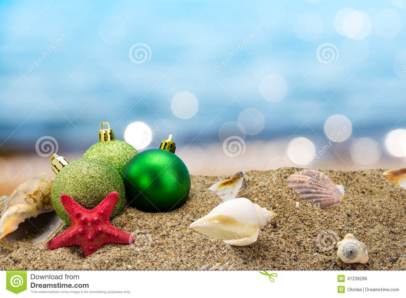 Christmas In Australia Background.Christmas Balls And Shells On The Beach Stock Photo Image