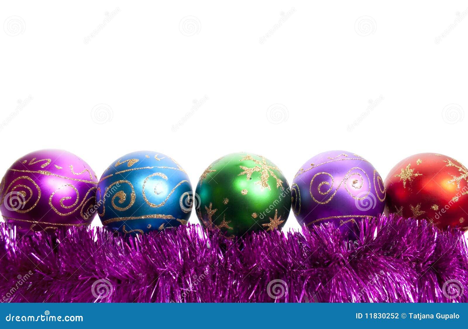 Christmas balls and tinsel stock photography image