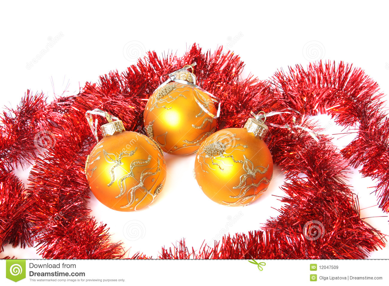 Christmas balls and a tinsel royalty free stock images