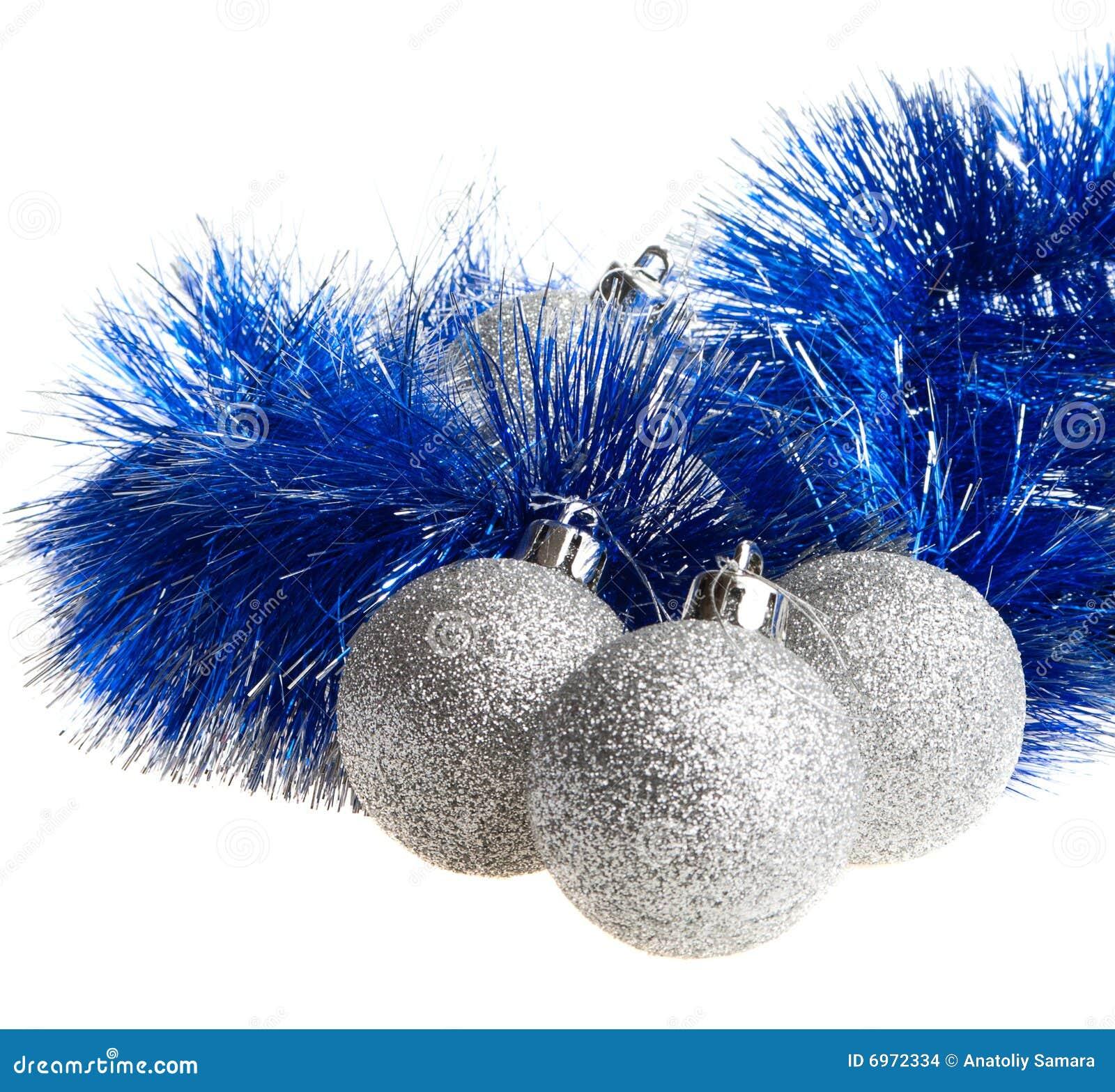 Christmas balls and tinsel stock images image