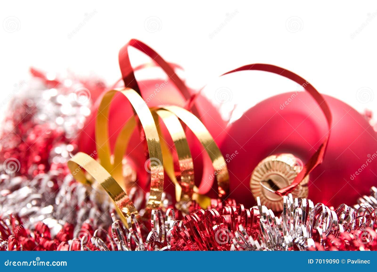 Christmas balls and tinsel stock photo image