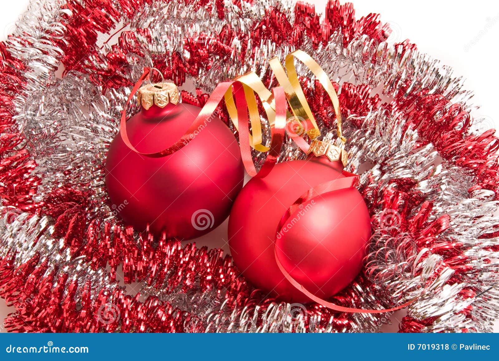 Christmas balls and tinsel royalty free stock photos