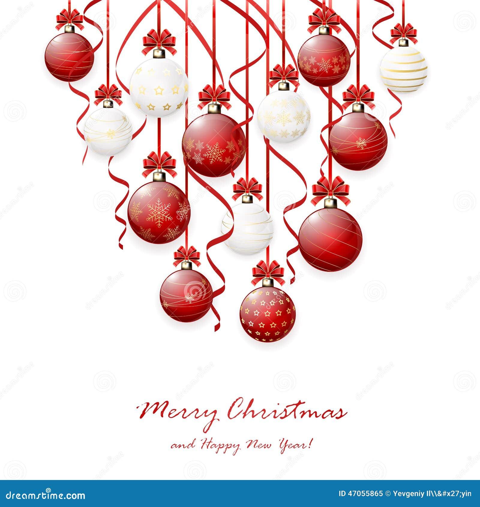 Christmas balls and tinsel stock vector image
