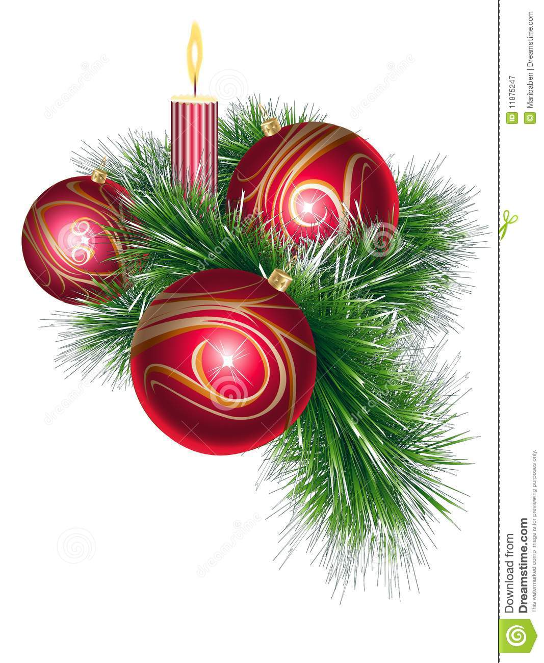 Christmas balls with tinsel and candle stock vector