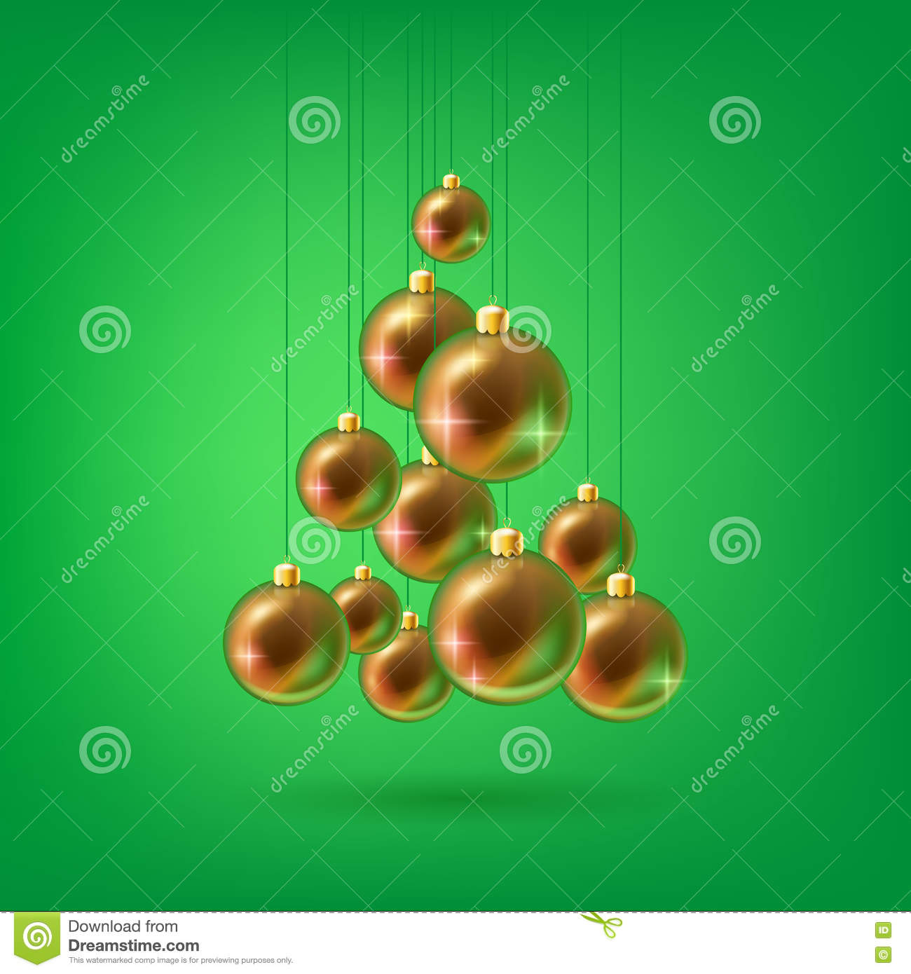 Christmas balls triangle tree vector illustration stock