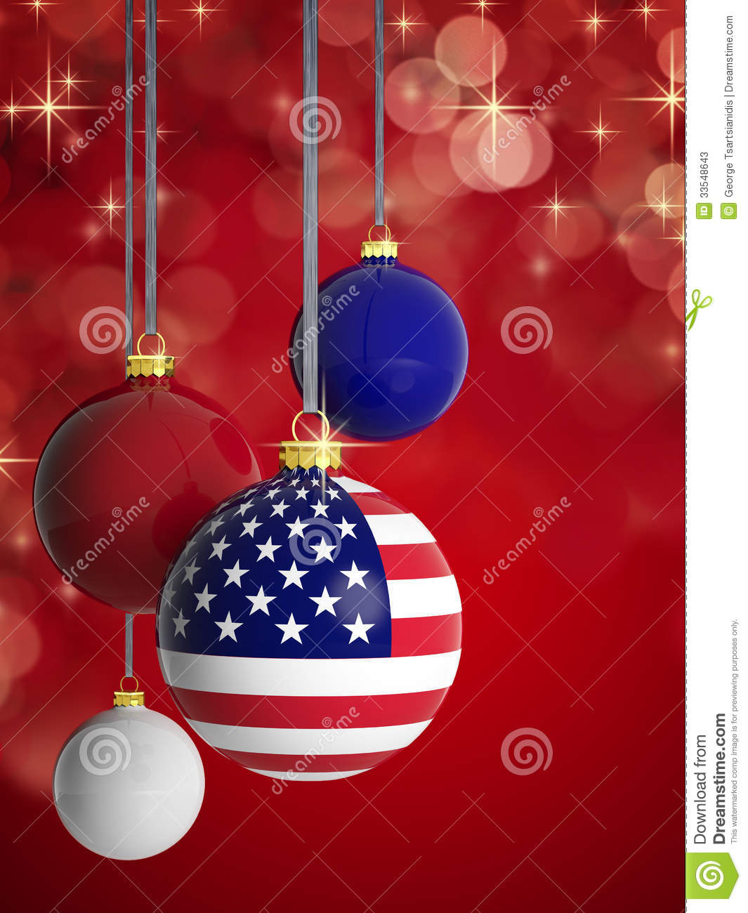 Christmas Balls With USA Flag Stock Photos - Image: 33548643